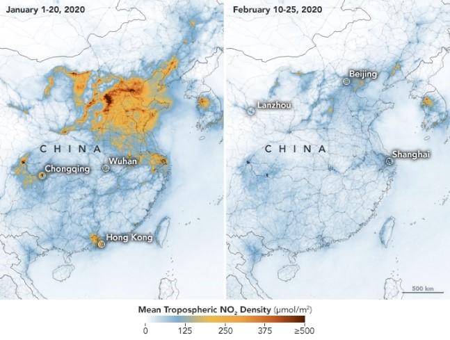 Impact coronavirus greenhouse gases climate change in China