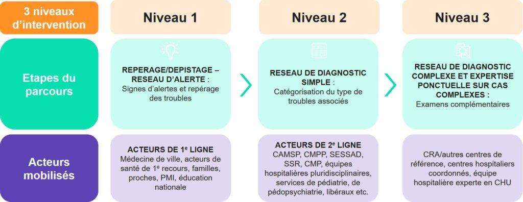 Diagnostic précoce du trouble du spectre autistique : 3 niveaux d'intervention autour du tryptique repérage - diagnostic - interventions